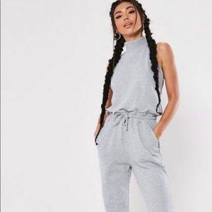 Misguided High Neck Jogger Jumpsuit Loopback